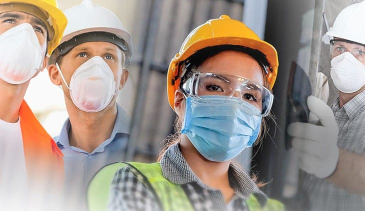Workers with various masks